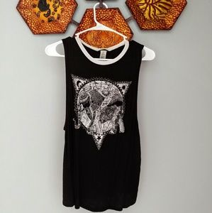 Black & white rustic elephant design sleeveless T